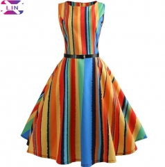 XLIN New Retro Sleeveless Summer Sexy Print Colorful Dress rainbow m