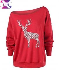 XLIN Christmas Deer Loose Wild Shoulder Strapless Off-Shoulder Plus Velvet Long-Sleeved Women red s
