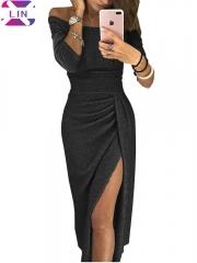XLIN Fashion Ladies Bag Hip Open Neck Collar Dress Bright Crystal Dress Evening Dress black s