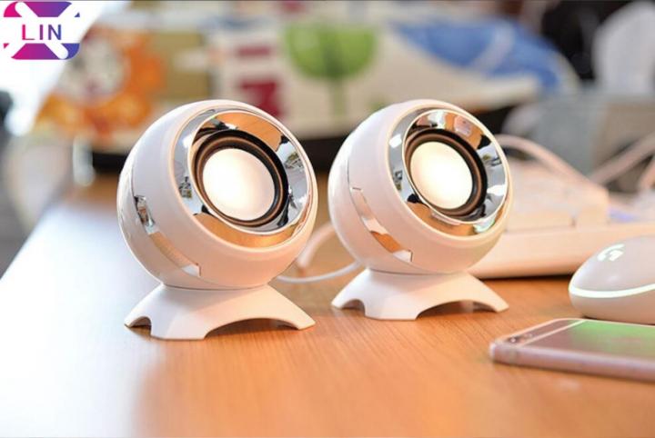 XLIN Fashion Computer Speaker USB Desktop Multimedia Subwoofer Mini Speaker (WHITE 11*8.5CM)