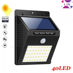 XLIN Solar Lights Outdoor 40 LED, Motion Sensor Solar Powered Lights Wireless Wall Lights for