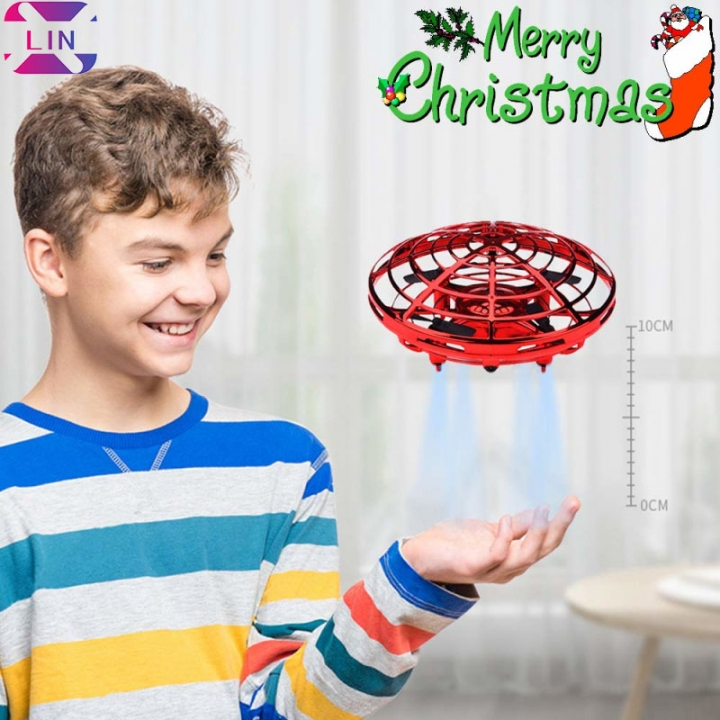 XLIN Drones, Interactive Mini Drone for Kids and Adults, Rechargeable Hand Controlled RC Drone RED 1 SET