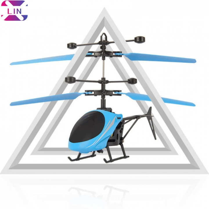 XLIN Mini Flying Helicopter, Hand Suspension RC Helicopter Aircraft Infrared Sensing BLUE 1 set