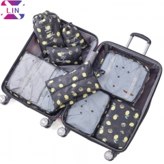 XLIN Packing Cubes - 8 Sets Luggage Organiser Travel Storage Bags BLACK LEMON 1 SET