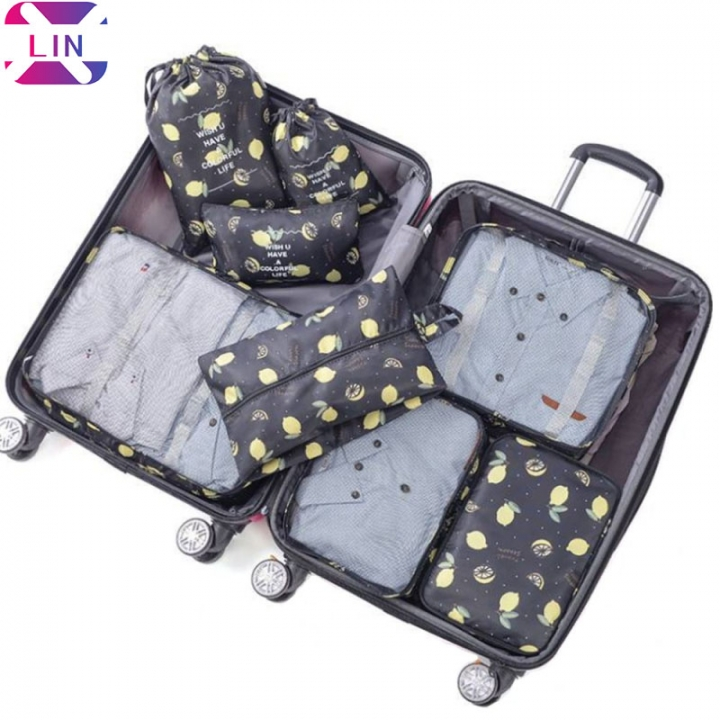 XLIN Packing Cubes - 8 Sets Luggage Organiser Travel Storage Bags BLACK LEMON 1 SET