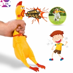 XLIN Squeaking Chicken Toy for Kids & Pets | Rubber Squawking & Shrieking Toy for Hours of Fun yellow 40CM