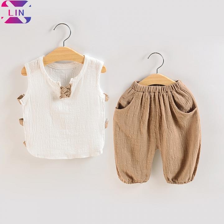 XLIN Baby Boy Cotton and Linen Short-Sleeved Shirt Set Baby Summer Clothes Two-Piece Set Cotton-khaki 73cm
