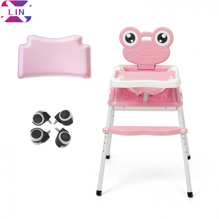 XLIN Baby Dining Chair Portable Folding Multi-Function,Cart, Seat(Baby Plate, 4 Casters) Light pink dining chair 1set