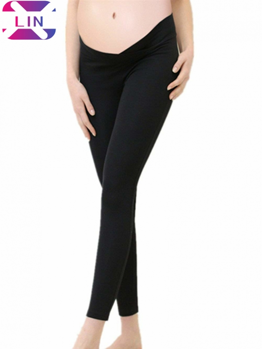 XLIN Maternity Pregnant Leggings Seamless Elastic Low Waist Under The Belly Pants Black m