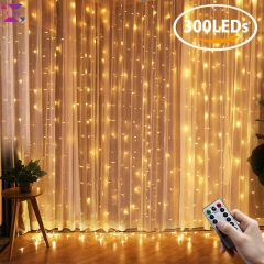 LED Curtain Lights, XLIN Window Curtain Fairy Lights, 300 LEDs, 3M × 3M, 8 Modes warm white 1set