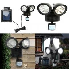 XLIN 22 LED Dual Security Detector Solar Spot Light Motion Sensor Outdoor Floodlight--Black