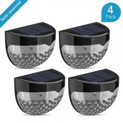 XLIN 4Pack Solar Powered Wireless Light Weatherproof Lamp with 6 LEDs Light Sensor ---Black