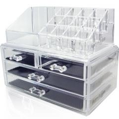 XLIN Acrylic Makeup Organizer Cosmetic Jewelry Display Box 2 Piece Set by Crystal Acrylics®