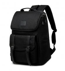 XLIN Lightweight Canvas Leather Travel Backpack Rucksack School Bag laptop backpack Daypack Black 43cm*30cm*14cm
