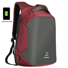XLIN 16 inch Simple External USB Charging Backpacks Oxford Cloth Anti-Theft Breathable Laptop Bags Red 49*32*20cm