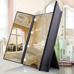Tri-Fold Foldable 8 LED Makeup Mirrors Led Light Glass Cosmetic Mirror Travel Mirror Pocket Mirror