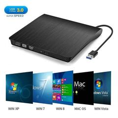 External CD Drive, USB 3.0 Portable CD/DVD +/-RW Drive Slim DVD/CD ROM Rewriter Burner Superdrive black