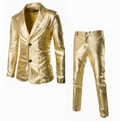 Bright Surface Suits Custom Made Men's Slim Suits 2 Piece (Jacket+Pants) Gold M