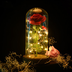 Eternal Rose Flower Preserved Fresh Plastic Beauty Led Light Red Roses Flowers Glass Cover Gifts Red rose 1pcs