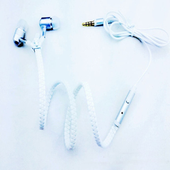 Luminous Light Metal Headphones Zipper Bass Headphones With Microphone 3.5mm Jack for Mobile Phones WHITE