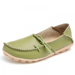 21 Colors Women Genuine Leather Shoes Woman Candy Color Boat Shoes Breathable Fashion Flat Shoes grassgreen 34
