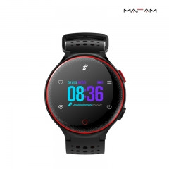 Smart watch  waterproof heart rate monitoring mode track GPS message pressure to take more exercise red