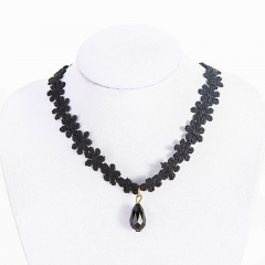 BNW European  American short clavicle chain, retro velvet collar  lace neckband punk jewellry10003 black 2.7g