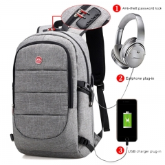 17 Inch Business Laptop Backpack,Anti Theft Lock Waterproof USB Charging Port Headphone Interface Gray Capacity 36-55L