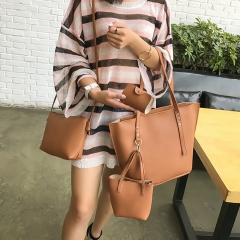 4Pcs Women Handbags Large Capacity Pattern Leather Shoulder Bag+Crossbody Bag+Handbag+Wallet Brown 14.9in(L)*5.1in(W)*11.4in(H)