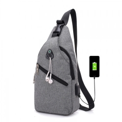 Fashion Casual Men Shoulder Bags USB Charging Chest Bag Crossbody Anti Theft Shoulder Bags Gray 12.9in(H)* 6.7in(L)* 3.5in(W)