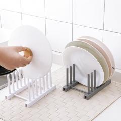 Kitchen Racks White Plastic Dish Lid Holder Kitchen Supplies Storage Rack Drain Holder Detachable White 17*12*9.5cm