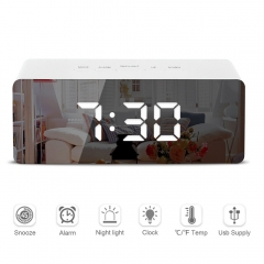 LED Mirror Alarm Clock Digital Snooze Table Clock Wake Up Light Electronic Temperature Display Clock