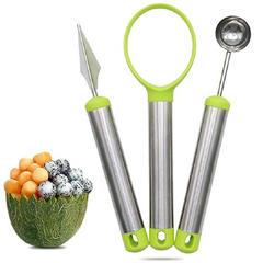 Melon Baller &Carving Knife& Fruit Scoop 3 Piece Stainless Steel Fruit Slicer Green 1 Set of 3