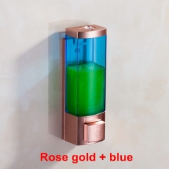 Luxury 250ml Rose Gold Color ABS Plastic Single Hand Washing Liquid Soap Dispenser Shampoo Dispenser Rose gold + blue wall mounted