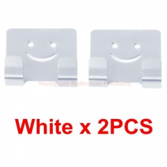 Colorful Aluminum Adhesive NO Drilling Smile Clothes Hook Robe Hook Coat Hook Door Hook Wall Hook White x 2PCS onc size