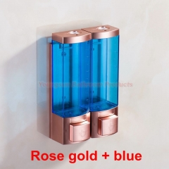 Luxury 250ml x 2 Rose Gold Color ABS Plastic Double Soap Dispenser Manual Liquid Shampoo Dispenser rose gold + blue wall mounted
