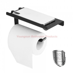 304 Stainless Steel Toilet Paper Dispenser SUS304 Toilet Paper Holder with Cell Phone Shelf matte black wall mounted