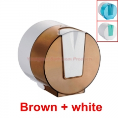 Quality ABS Plastic Waterproof Toilet Paper Dispenser Toilet Tissue Roll Holder Toilet Roll Hanger Brown + white round