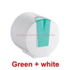 Quality ABS Plastic Waterproof Toilet Paper Dispenser Toilet Tissue Roll Holder Toilet Roll Hanger Green + white round
