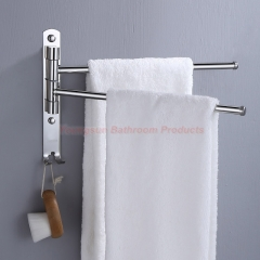 304 Stainless Steel Bathroom Rotating Towel Bar Towel Rack Washroom Folding Towel Rail Towel Rod 2 Bars Mirror Finish
