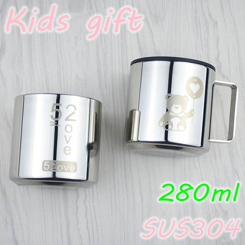 Kids Gift 304 Stainless Steel Heat Insulated Milk Cup Coffee Cup with Lid  Tea Cup Coffee Mug Without Handle 200ml