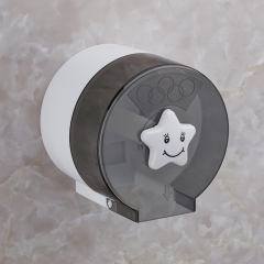 Cute Cartoon Plastic Waterproof Toilet Paper Holder Tissue Paper Holder Toilet Roll Storage Grey round
