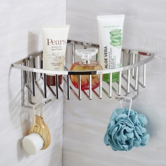 Luxury 304 Stainless Steel Wire Shower Corner Shelf with Hook SUS304 Triangle Bathroom Wall Shelves mirror finish wall mounted