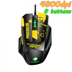 Professional Wired Gaming Mouse 8 Button 4800 DPI LED Lamp Optical USB Computer Mouse Gamer Mice Yellow one size