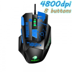 Professional Wired Gaming Mouse 8 Button 4800 DPI LED Lamp Optical USB Computer Mouse Gamer Mice Blue one size