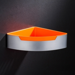 Aluminum Bathroom Corner Shelf with ABS Plastic Tray Single Tier Triangle Bathroom Storage Basket Orange wall mounted