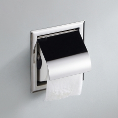 Square Embedded Toilet Paper Holder Bathroom Concealed Tissue Box Recessed Toilet Tissue Dispenser mirror finish wall mounted