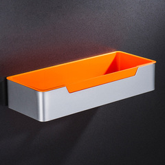 Aluminum Bathroom Rectangle Shelf with ABS Plastic Tray Bathroom Organizer Single Tier Kitchen Shelf orange wall mounted