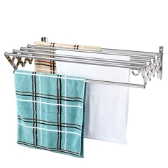 Stainless Steel Retractable Towel Rack with Hook Bathroom Shelf Expandable Laundry Drying Rack mirror finish wall mounted