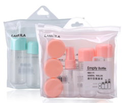 Portable travel bottling 8-piece set of spray bottle empty bottle face cream empty bottle travel bag green